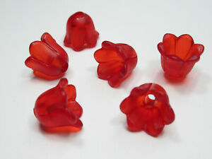 Qty 12 Matte Ruby Red Flower Beads 14mm Pansy Acrylic Plastic 5 Petals w Hole