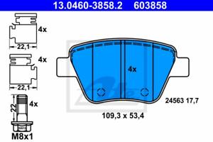 Scheibenbremse für Bremsanlage Hinterachse ATE 13.0460-3858.2 Bremsbelagsatz