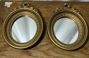 Vintage Home Interiors Gold Ornate Ribbon & Rose Mirror Set of 2 Made in USA 8.5