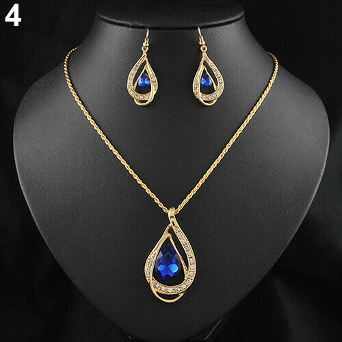 Bg /_ Schmuck-Set Waterdrop Kristall Stein Ohrringe Anhänger Halskette Goldener