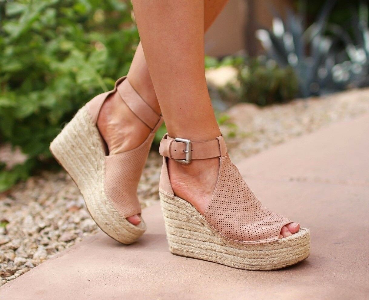 Marc Fisher Annie Perforated Espadrille Platform Wedge Sandale Größe 10