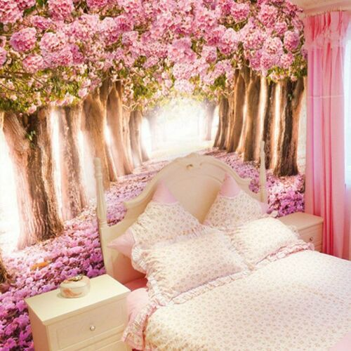 3D Pink Cherry Blossoms Trees Wall Mural Wallpaper Living Room Bedroom Lounge
