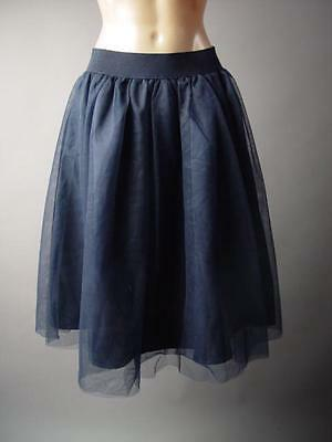 Women Dark Navy Blue Tulle Evening Midi Tea Knee Length Tutu Full 217 mv Skirt S