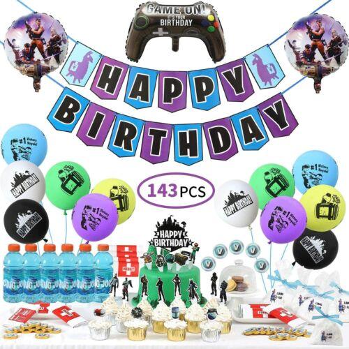 143 PCS Birthday Party Supplies Set Game Party Decoration Fortnite Battle Theme