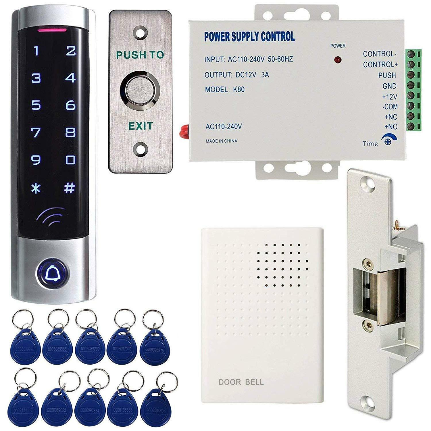 Access Control System Kit For Single With Touch Keypad Power Supply Strike Lock