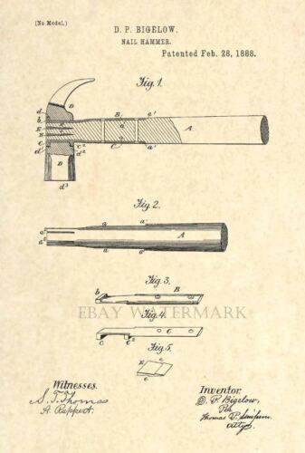 Official Hammer US Patent Art Print Antique carpenter tool 27 Vintage 1888