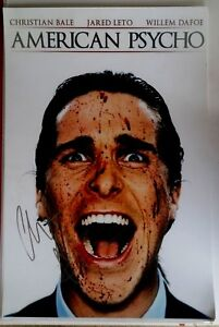 CHRISTIAN-BALE-SIGNED-AMERICAN-PSYCHO-MOVIE-POSTER-12x18-AUTO-BATMAN-PHOTO-PROOF