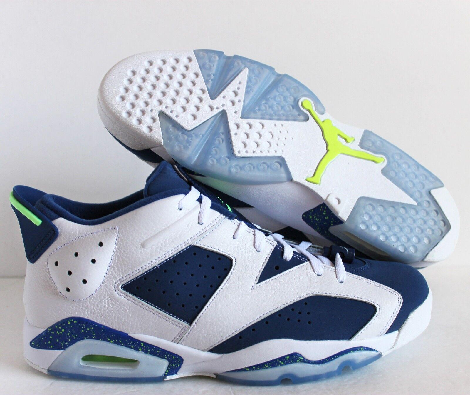 Nike air jordan 6 retrò basso seahawks white-blue-ghost green sz 14 [304401-106]