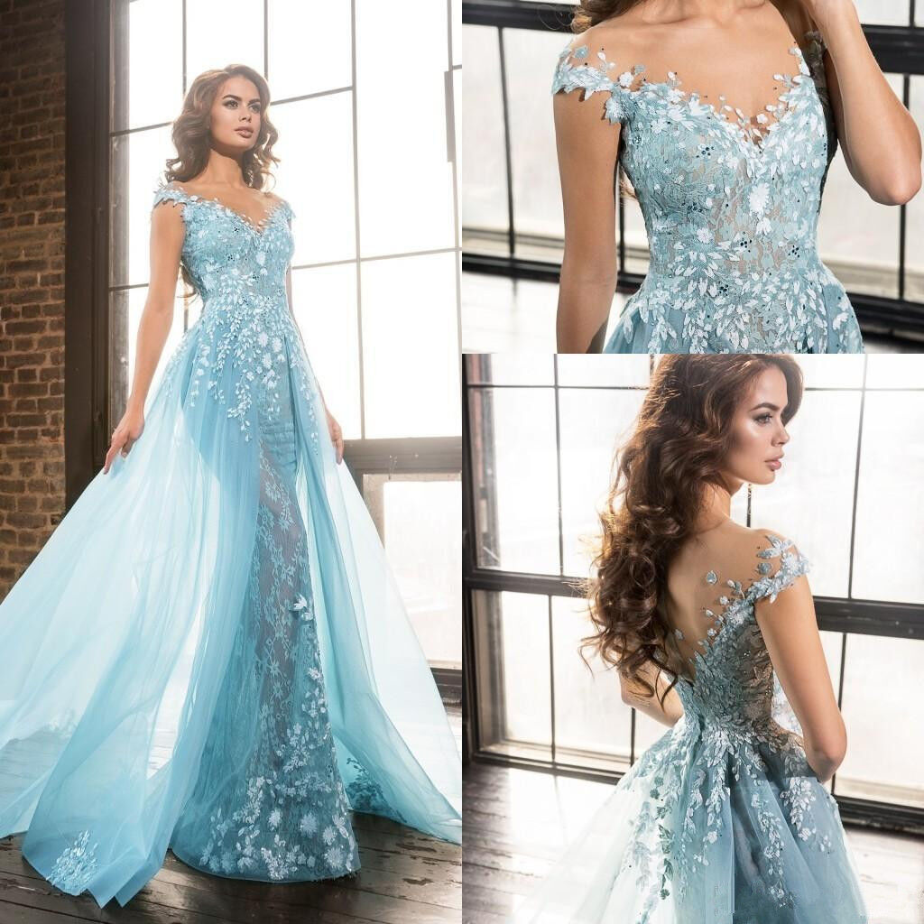 2019 bluee Vintage Celebrity Long Evening Wedding Gown Pageant Prom Party Dresses