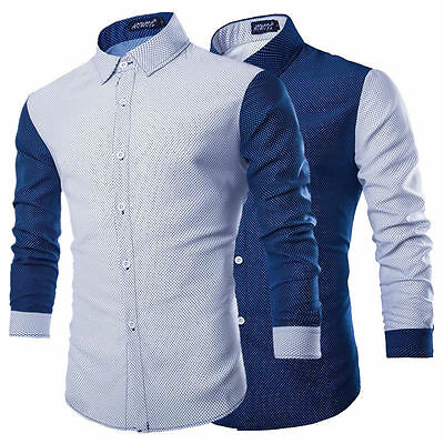 Fashion Men's Luxury Casual Slim Fit Stylish Formal Dress Shirts Long Sleeve