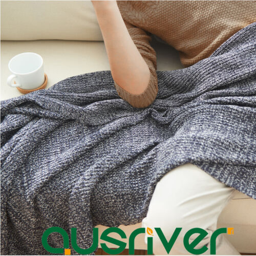 Cotton Knitted Variegated Throw Rug Couch Lounge Sofa Blanket Car Travel Grey