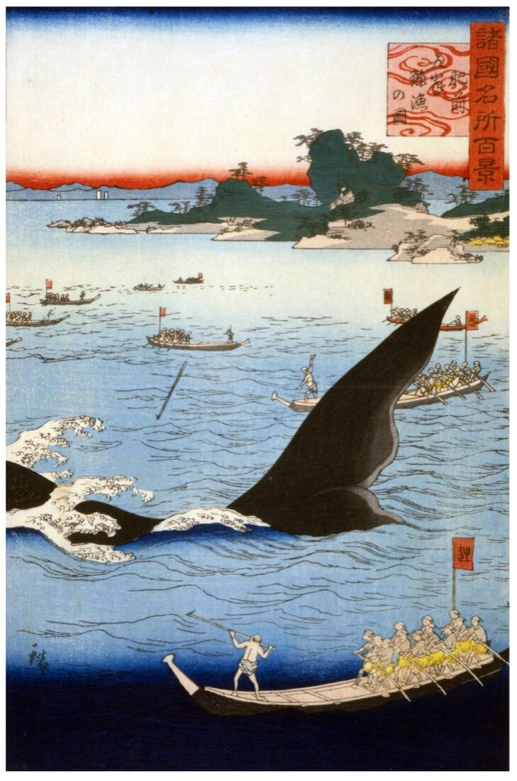 7322.Asian fishermen boating over large sea creature.POSTER.art wall decor