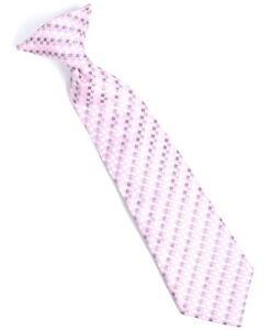 Boys Youth Pink Geometric Squares Clip On Tie (MPBC2005PK)