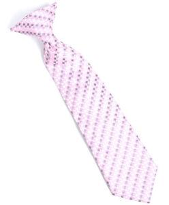 Boys Youth Pink Geometric Squares Clip On Tie (MPBC2005PK)
