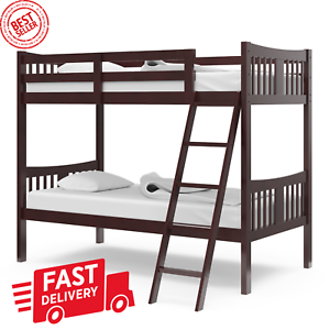 Twin Size Bunk Bed Separable Wooden Bedroom Teens Child Home Safe Espresso Ebay
