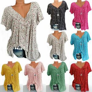 Womens-V-Neck-Floral-Tee-T-shirts-Short-Sleeve-Blouse-Loose-Tunic-Tops-Plus-Size