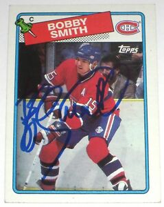 BOBBY-SMITH-SIGNED-88-89-TOPPS-MONTREAL-CANADIENS-CARD-AUTOGRAPH-AUTO