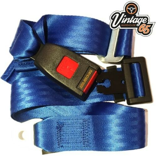 Vintage Warehouse Classic Retro Ford Blue 3 Point Static Rear Seat Belt Kit
