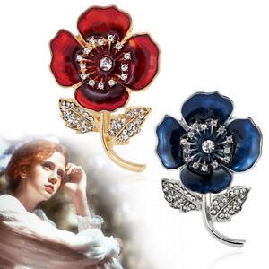 Women-Red-Poppy-Badges-Flower-Pin-Brooch-Enamel-Crystal-Brooches