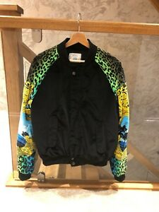 3bf932edb3528 VERSACE H&M baroque print sleeves black velvet bomber jacket S | eBay