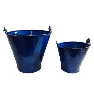 Pack De 2 Style Branché, Couché Brillant Seaux En Métal Bleu, Seaux De Jardin-afficher Le Titre D'origine Haute SéCurité