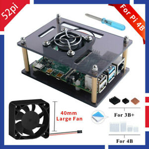 Layer Acrylic Case With Cooling Fan Heatsinks For Raspberry Pi 4B//3//2B//B USA