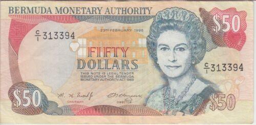 VF WE COMBINE QE II Bermuda Banknote P 44c 50 Dollars 23.2.1996  pfx C//1