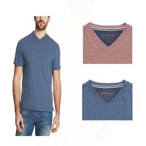 Weatherproof-Vintage-Men-039-s-Short-Sleeve-V-Neck-Striped-Shirt-Navy-or-Red-Pear