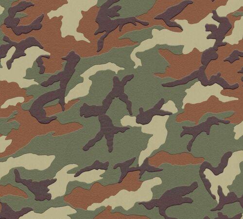 3,56€//1qm Kindertapete Camouflage Muster olivgrün braun Boys /& Girls 3694-06