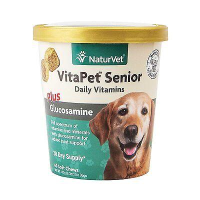 NaturVet VitaPet Senior Daily Vitamins Plus Glucosamine for Dogs, 60 ct Soft ,