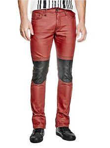 G skinny de hommes Moto By de finition Xeelan Guess pour enduit rouge Jeans 8IdqTI