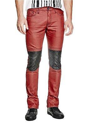 100% Vero G Da Guess Uomo Xeelan Moto Jeans Skinny Rivestito Finitura Rosso Caviglia Tieniti In Forma Per Tutto Il Tempo