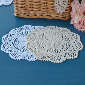 Vintage-Mano-Crochet-Coaster-Salvamantel-Servilleta-Mantel-Casa-Tapetes-De-Encaje-De-Algodon