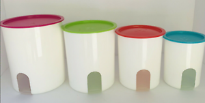 NEW Tupperware 3 Piece One Touch Reminder Canister Set