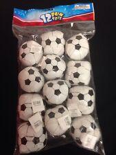 "12 Foam Filled Vinyl Soccer Balls Soft 2"" Dia Kick Dozen Prize Goody Bag Toy New"