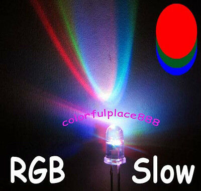 100pcs 5mm RGB Rainbow Slow Flashing Flash Red Green Blue LED Leds Resistors