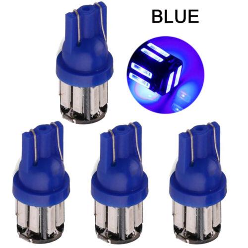 4PCS T10 7020 10SMD Blue LED Light Super Bright Car Interior Wedge Lamp 12V