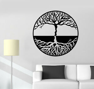 Image is loading Vinyl-Wall-Decal-Tree-Of-Life-Yin-Yang- & Vinyl Wall Decal Tree Of Life Yin Yang Symbol Gothick Style Stickers ...
