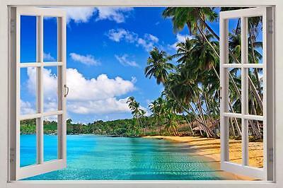 Tropical Beach 3d Window Decal Wall Sticker Decor Art