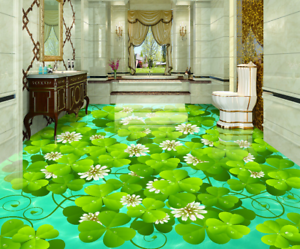 3D Petals Green Leaves 7 Floor WallPaper Murals Wall Print Decal AJ WALLPAPER US