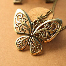 New Hot Bronze Butterfly Necklace Fashion Pendant Long Sweater Chain Jewelry