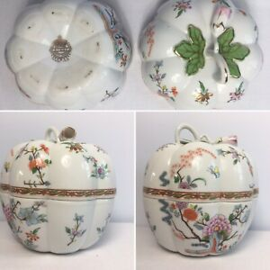 Vintage-Japanese-Porcelain-Aichi-Seto-Japan-Lidded-Pumpkin-Dish-5-Halloween-VGC