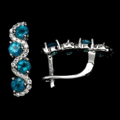 Paraiba Bleu Apatite Round 3 mm CZ 925 Sterling Silver Ring Boucles d/'oreilles Collier