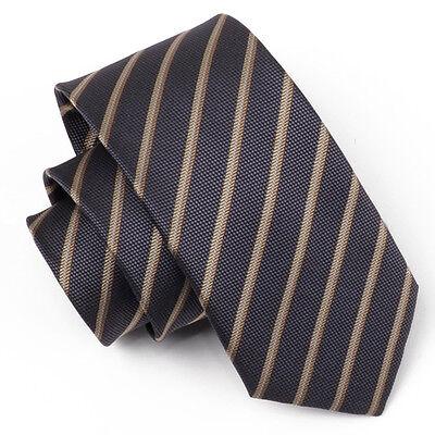 (tx24) 7cm In Poliestere Uomini Cravatta Marrone A Righe Business Ufficio Festa Formale Cravatta-mostra Il Titolo Originale Prestazioni Superiori