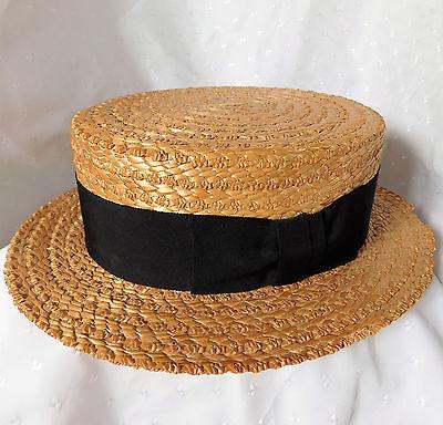 Vintage Olney natural straw boater 58 cm UK hat size 7 1/8 Large Black ribbon