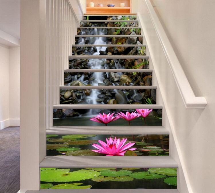 3D Bloom Pink Lotus Stair Risers Decoration Photo Mural Vinyl Decal Wallpaper CA