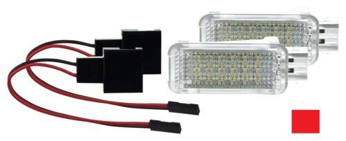 2 X LED Fußraumbeleuchtung Fußraum Licht Kofferraum Modul ROT 18 SMD A6