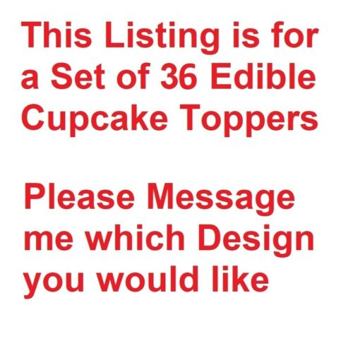 Set of 36 Edible Wafer Cupcake Toppers PreCut & Ready to Use