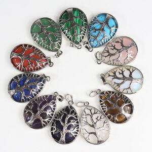 Natural-Gemstones-Teardrop-Tree-of-Life-Reiki-Chakra-Silver-Pendant-for-Necklace