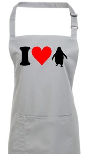 Kochschürze lustige Tiere I love Pinguine